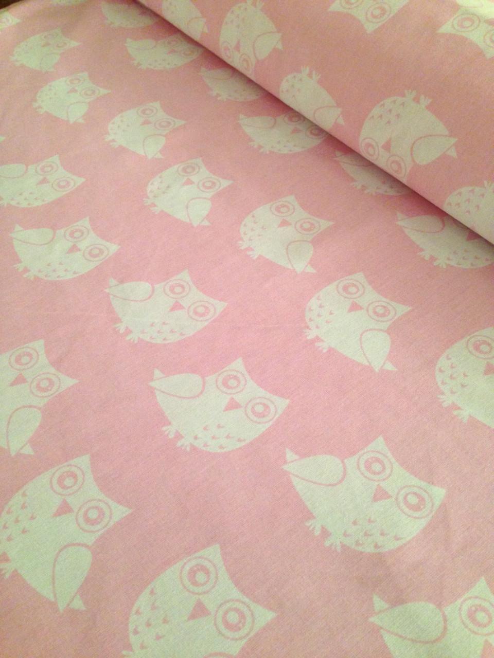 Хлопковая ткань совы белые на розовом № 300