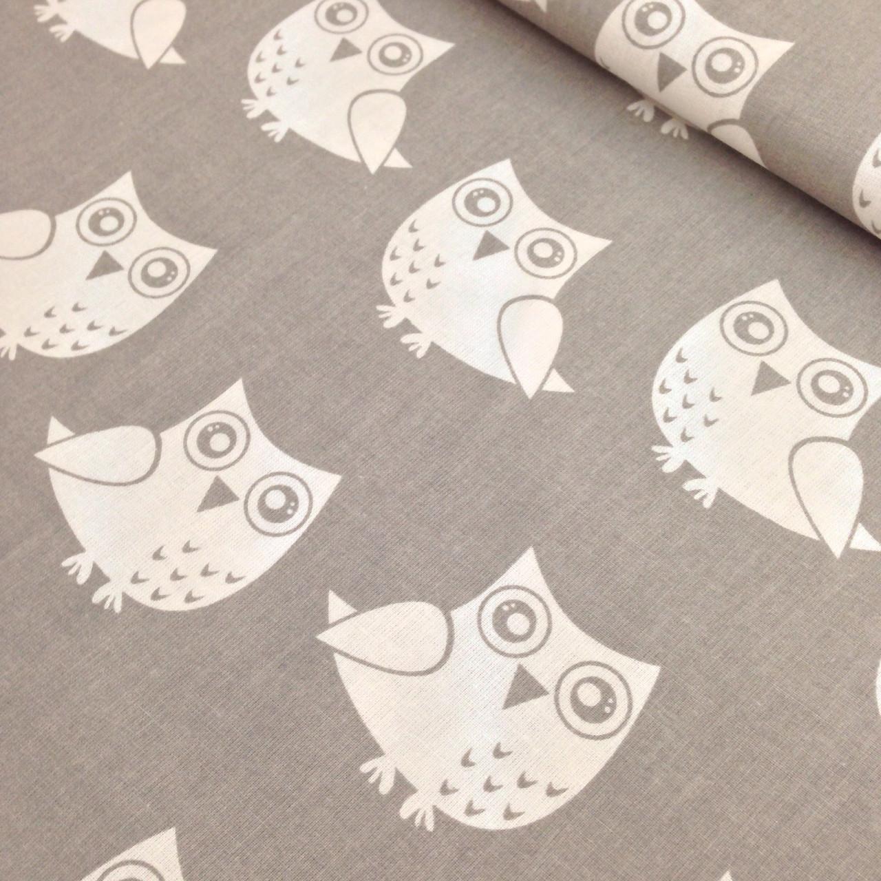 Бавовняна тканина білі сови на сірому №303