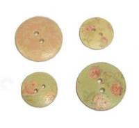 """Пуговицы деревянные """"Cupcake Floral"""" Dovercraft 4 шт"""