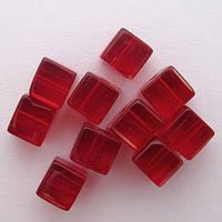 Бусина Куб цвет красный 6*6 мм