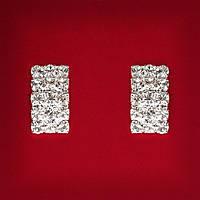 [15 мм] Серьги женские белые стразы светлый металл свадебные вечерние гвоздики (пуссеты) прямоугольные мини