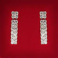 [35x5 мм] Серьги женские белые стразы светлый металл свадебные вечерние гвоздики (пуссеты)  подвески 2 ряда мини