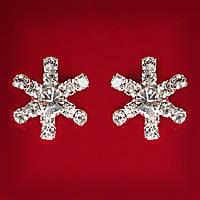 [15x15 мм] Серьги женские белые стразы светлый металл свадебные вечерние гвоздики (пуссеты) снежинка мини