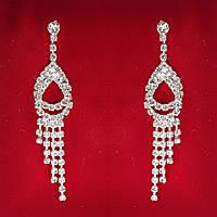 [80x17 мм] Серьги женские белые стразы светлый металл свадебные вечерние гвоздики (пуссеты) жар-птица длинные