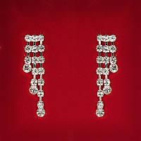 [38x10 мм] Серьги женские белые стразы светлый металл свадебные вечерние гвоздики (пуссеты) подвески 3 ряда каскад