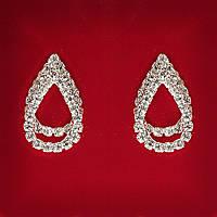 [26x17 мм] Серьги женские белые стразы светлый металл свадебные вечерние гвоздики (пуссеты) капля двойная средние