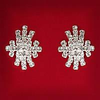 [25 мм] Серьги женские белые стразы светлый металл свадебные вечерние гвоздики (пуссеты) снежинка средняя