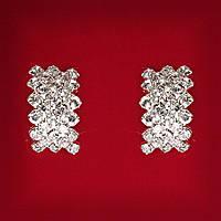 [19x12 мм] Серьги женские белые стразы светлый металл свадебные вечерние гвоздики (пуссеты) косичка средние