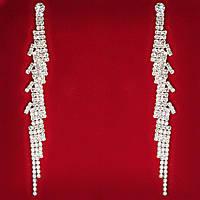 [120 мм] Серьги женские белые стразы светлый металл свадебные вечерние гвоздики (пуссеты) змея с изумрудными глазами