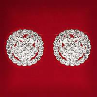 [25 мм] Клипсы женские белые стразы светлый металл свадебные вечерние (пуссеты) бант крупные и мелкие стразы