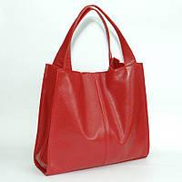 Женская кожаная сумка. Модель 12 красный флотар