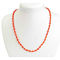 "Бусы оранжевый Коралл бусины ""барбарис"" 4*8мм, длина 47см"
