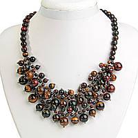 Ожерелье из Тигрового, Бычьего и Соколиного глаза,  шарик  6-12мм, Клюква, длина 46см