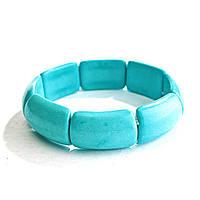 Браслет на резинке голубая Бирюза прямоугольные камни