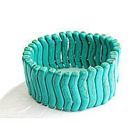 Браслет на резинке зеленая Бирюза с прожилками тонкая волна