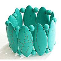На Резинке Зеленая Бирюза С Прожилками Широкий Овальные Камни Крупные И Мелкие Круглые Браслет