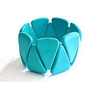 На Резинке Голубая Бирюза Широкий Треугольники Браслет