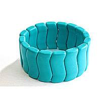 Браслет на резинке голубая Бирюза волна крупная