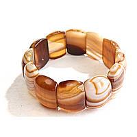 Браслет на резинке  коричневый (дымчатый) Агат овальные камни