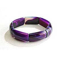 Браслет на резинке фиолетовый Агат прямоугольные камни