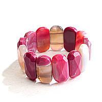 Браслет на резинке розовый Агат граненный овальные камни