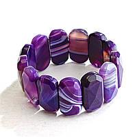 Браслет на резинке фиолетовый Агат граненный овальные камни