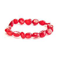 Браслет на резинке красный Коралл бусины круглые