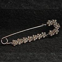 [20/75 мм] Брошь-булавка темный металл  с цветочками в стразах кристалл сатин