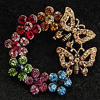 Медного Цвета Круглая Бабочки И Цветы С Разноцветными Камнями Брошь