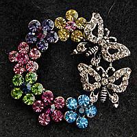 Темный Металл Круглая Бабочки И Цветы С Разноцветными Камнями Брошь