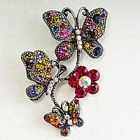 Брошь Металл Под Капельное Серебро Бабочки, Сидящие На Цветке Разноцветные Стразы Яркая