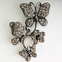 Брошь Металл Под Капельное Серебро Бабочки, Сидящие На Цветке Яркая