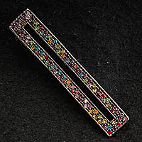 [12/63 мм] Брошь-булавка планка темный металл с разноцветными стразами