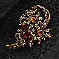 [40/60 мм] Брошь медного цвета с камнями золотистого и янтарного цвета