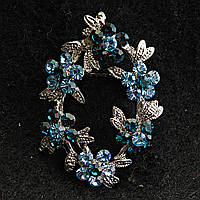 Металл Под Капельное Серебро Овальной Формы С Цветами Синих И Голубых Тонов Брошь