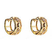 Xuping. Серьги круглые золотого цвета в интересном дизайне со вставками из страз