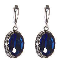 """Серьги  с синими кристаллами оправа  """"зубчик"""" овальный  камень 2*1,6см L-4см"""