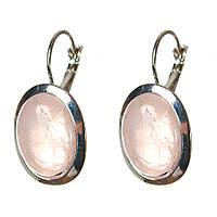 Серьги Розовый кварц гладкая оправа  овальный  камень 2,2*1,8см L-3,2см