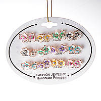[10 мм] Серьги женские набор 12 шт разные цвета цветы петунии  со стразами