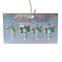 [20 мм] Серьги женские набор 4 шт с камнем под голубую бирюзу с прожилками стрекозы