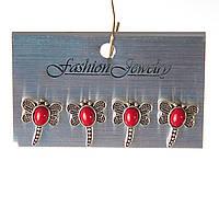 [20 мм] Серьги женские набор 4 шт с красным  кораллом стрекозы