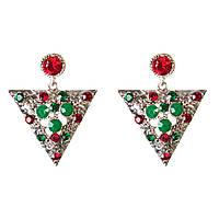 Серьги кристалл 4 см нарядные с зелеными и красными стразами треугольники