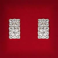 Женские Белые Стразы Светлый Металл Свадебные Вечерние Гвоздики (Пуссеты) Прямоугольные Мини Серьги