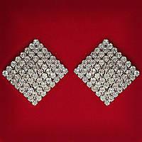 [35 мм] Серьги женские белые стразы светлый металл свадебные вечерние гвоздики (пуссеты) ромб крупные