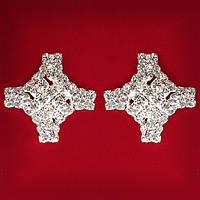 Женские Белые Стразы Светлый Металл Свадебные Вечерние Гвоздики (Пуссеты) Крест Крупные Серьги