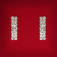 [25 мм] Серьги женские белые стразы светлый металл свадебные вечерние гвоздики (пуссеты)  прямоугольные тонкие