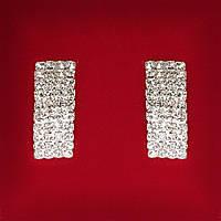 [25 мм] Серьги женские белые стразы светлый металл свадебные вечерние гвоздики (пуссеты)  прямоугольные крупные длинные слегка закругленные