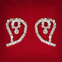 [27x20 мм] Серьги женские белые стразы светлый металл свадебные вечерние гвоздики (пуссеты) сердце среднее