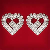 Женские Белые Стразы Светлый Металл Свадебные Вечерние Гвоздики (Пуссеты) Сердце Со Вставкой Средние Серьги