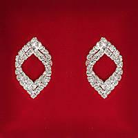 [28x17 мм] Серьги женские белые стразы светлый металл свадебные вечерние гвоздики (пуссеты) восточные двойные средние